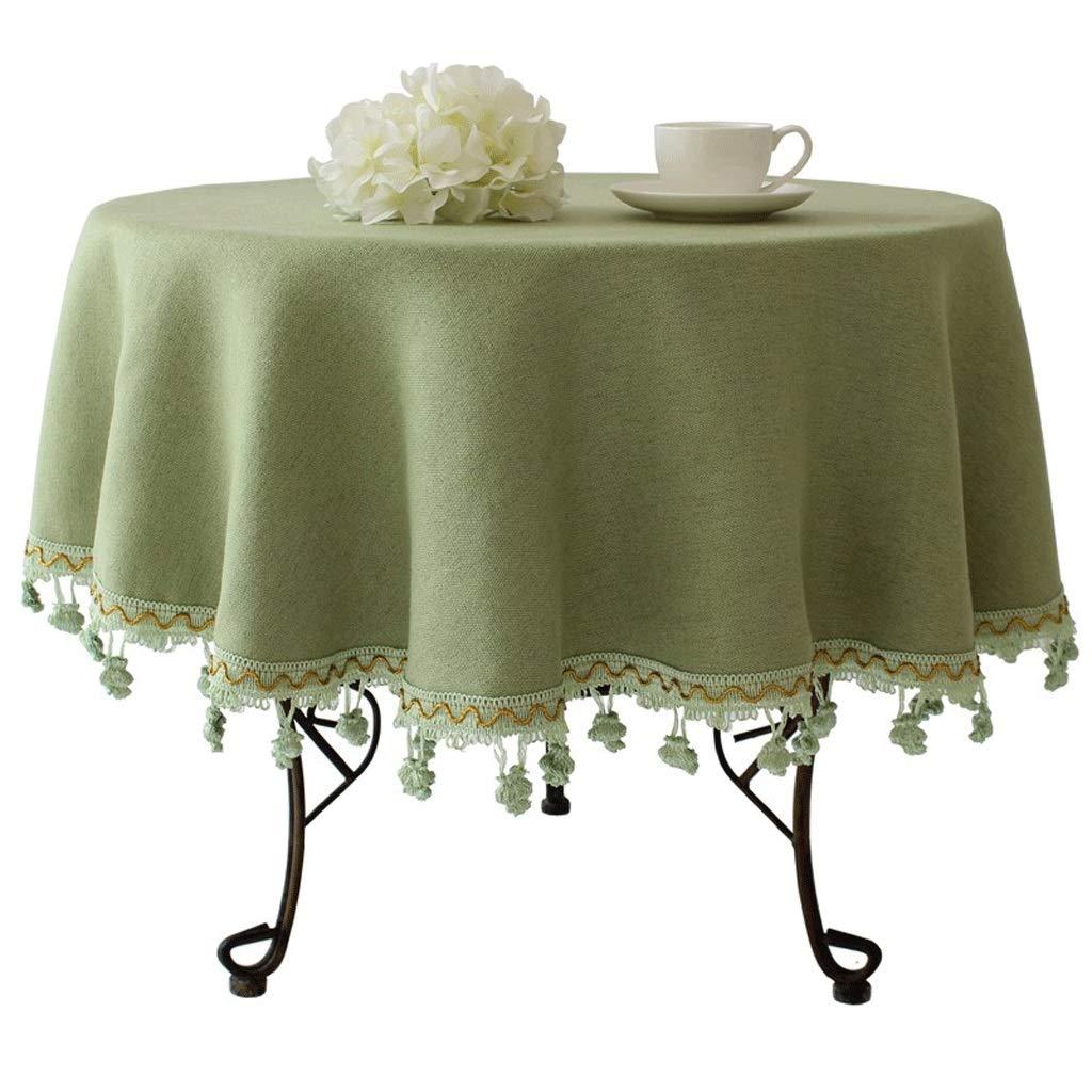 B 130cm Nappe ronde européenne haut de gamme Nappe ronde Maison Style pastoral méditerranéen Tissu de table en coton et lin (Couleur   E, taille   220cm)