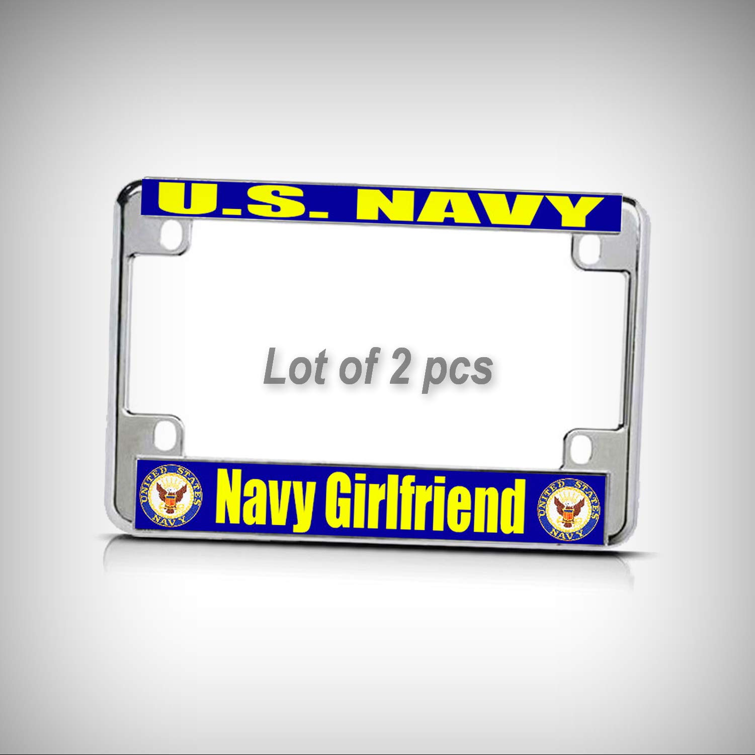 Set of 2 Pcs - U.S. Navy Navy Girlfriend Chrome Metal Bike Motorcycle Tag Holder License Plate Frame Decorative Border