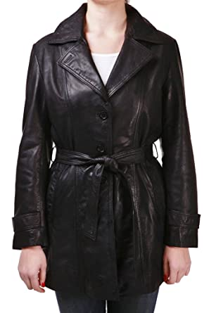 Women S Long Black Leather Trench Coat With Belt Tie At Amazon