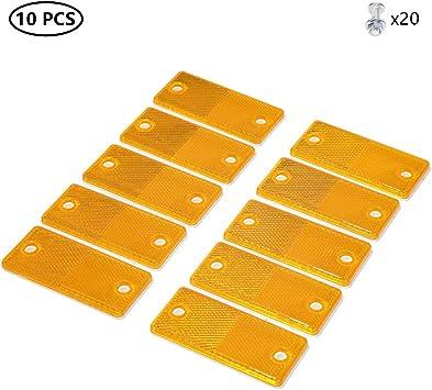 Taeuto 10 X Anhänger Rechteckig Gelb Katzenauge Reflektor Anhänger Rechteckig Rückstrahler Katzenauge Reflektor Schraube Befestigung Katzenauge Reflektor Für Anhänger Wohnwagen Lkw Traktor Gelb Auto