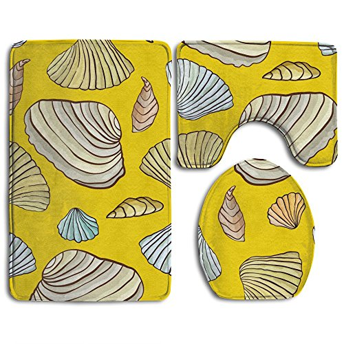 Sea Shells Yellow Bathroom Non-Slip 3-Piece Set Rug Contour Mat + Lid Toilet Cover + Foot Pad Bath Mat - Home Essential - Give Your Family The Best Protection (Bath Rug Foam Walmart Memory)