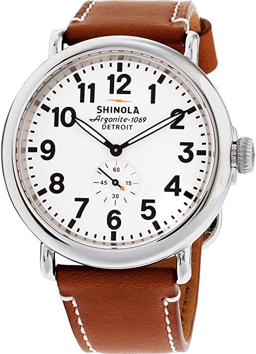 Amazon.com: Shinola Detroit Men's The Runwell 47mm - 10000010 White/Tan:  Watches