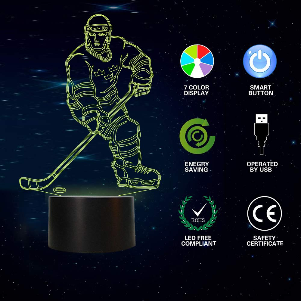 Baseball Sport Gifts Bedside Lamp for Xmas Holiday Birthday Gifts for Kids Baseball Fan with Remote Control 16 Colors Changing 4 Changing Mode FULLOSUN Baseball 3D Night Light Dim Function