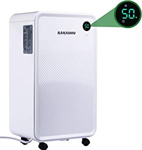 SAHAUHY 30 Pints Dehumidifier for Home Basements Bedroom Garage,with 0.52 Gallon Water Tank, Continuous Drain Hose and Wheel Spaces up to 1500 Sq Ft