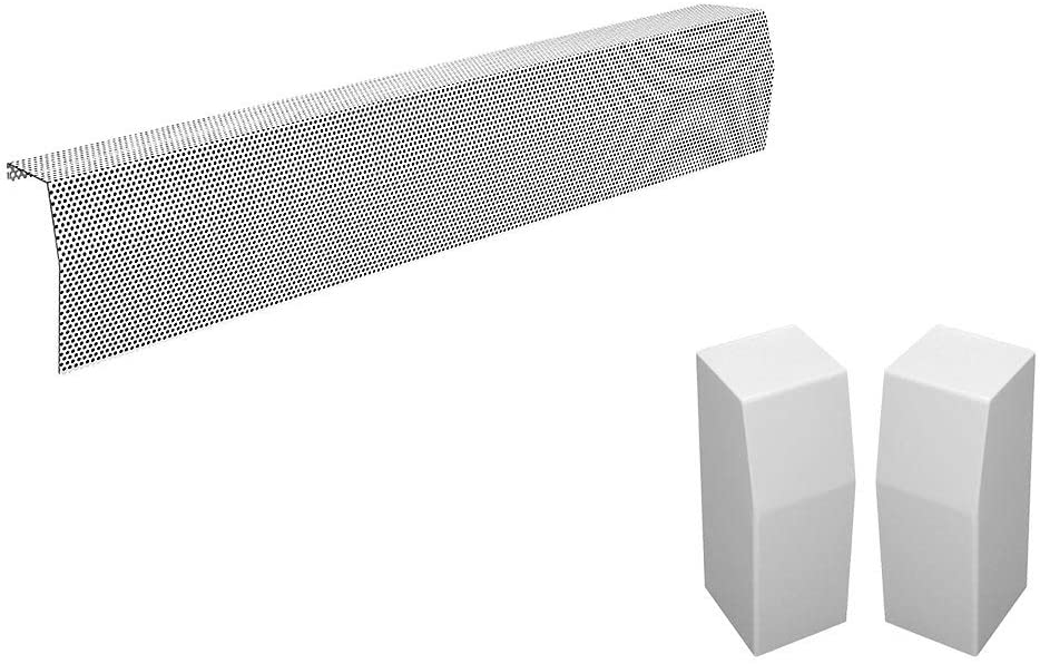 Baseboarders Premium Series Galvanized Steel Easy Slip-On Baseboard Heater Cover in White (5 ft, Cover + L & R End Caps)