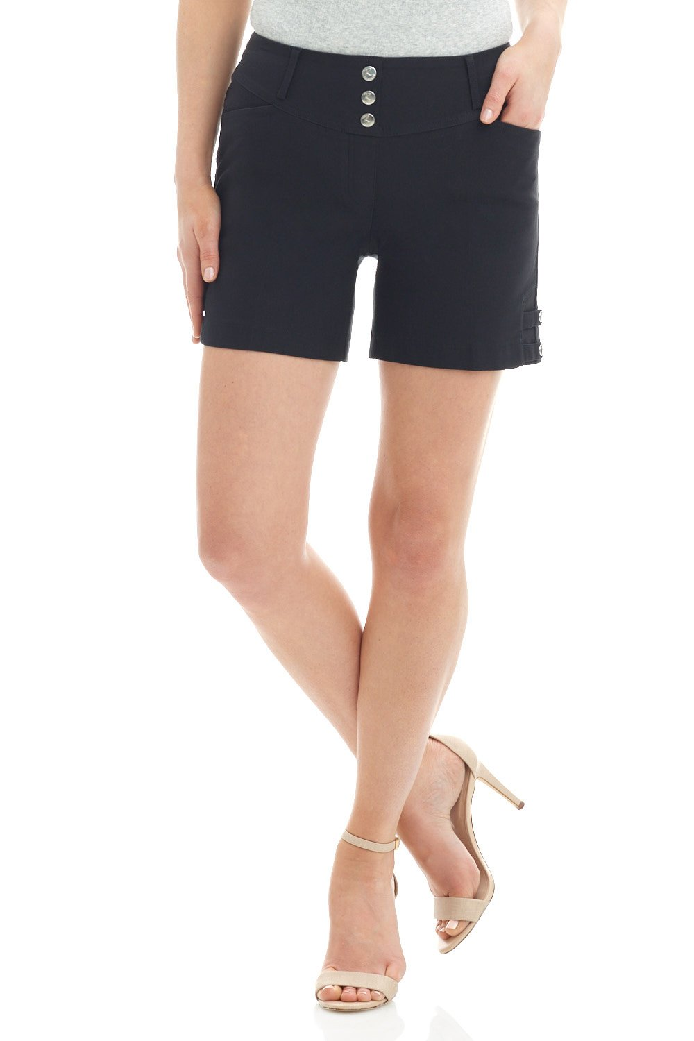 REKUCCI Women's Ease Into Comfort Stretchable Pull-On 5'' Slimming Tab Short (12,Black)