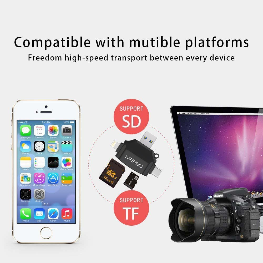 Amazon SD Card Reader MEFEO Micro USB Type C Adapter Viewer With Lightning For IPhone IPad Android Mac 4 In 1