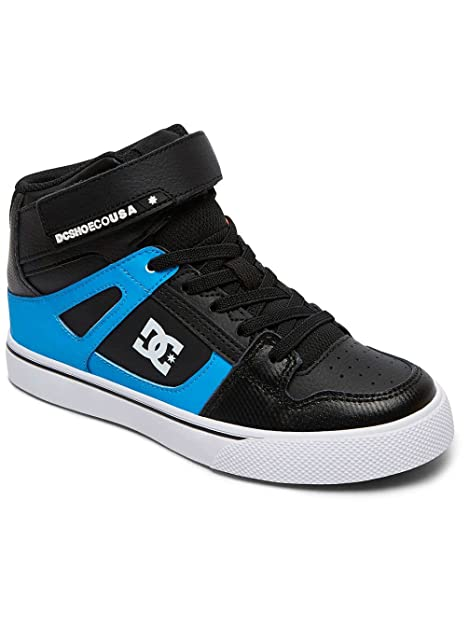 116218386d DC Shoes Youth Pure High-Top SE EV Black Red Blue Leather Trainers ...
