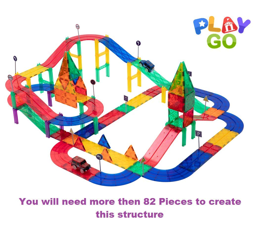 PlayGo MagTracks Magnetic Tracks and Cars Clear Colors Set, Magnetic Building Tiles for Kids Creativity, Educational Magnetic 3D Tiles, Ideal Educational Toy for Children (82 Piece Set) by PlayGo (Image #2)