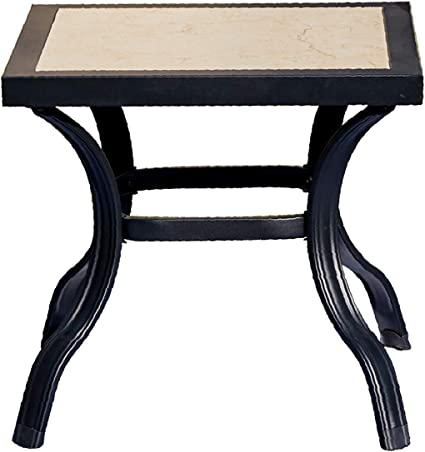 Amazon Com Romayard Outdoor Table Square Patio Bar Furniture With Porcelain Tabletop Steel Frame For Garden Yard Small Kitchen Dining