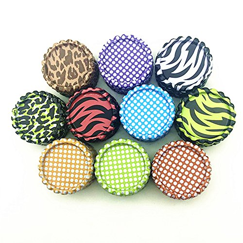 IGOGO 100 PCS Mixed Colors New Colorful Bottle Caps Craft Bottle Stickers for Hair Bows Pendants Scrapbooks 1 Inch (10colors x 10pcs))
