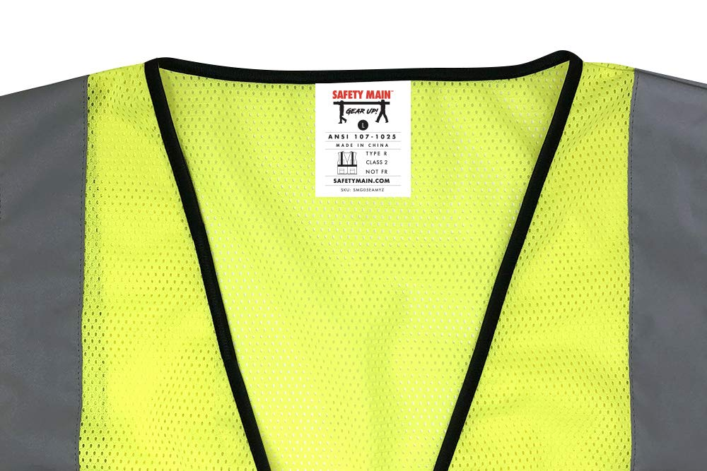 Safety Main Economy High Visibility All Mesh Vest, Extra Large, 10 Pack