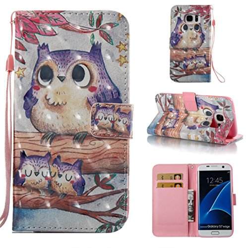 Fan Flip Bird - Galaxy S7 Edge Case, [Shock Absorbent] PU Leather Kickstand Wallet Cover Durable Flip Carrying Case with Magnetic Closure Birthday Gift for Girlfriend Boyfriend for Samsung Galaxy S7 Edge-Bird