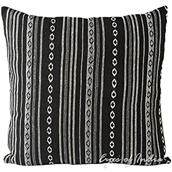 Pleasant Eyes Of India 24 Black White Large Striped Dhurrie Couch Cushion Cover Sofa Decorative Pillow Throw Indian Bohemian Colorful Boho De Cover Only Machost Co Dining Chair Design Ideas Machostcouk
