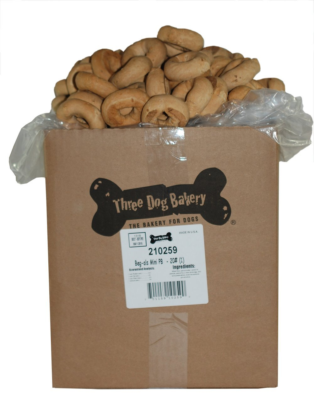THREE DOG FOOD BAKERY 015105 Bagels Food for Pets, Mini, Peanut Butter, 20-Pound