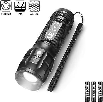 LE LED Taschenlampe,Zoombar Taschenlampen,Superhelle CREE LED,Handlampe mit einstellbarem Fokus,3 Licht Modi,LED Camping Flashlight f/ür Kinder,Outdoor Camping 2er Pack Inklusive 6 AAA Batterie