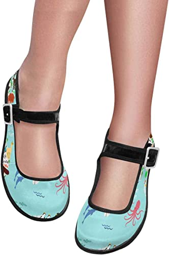 INTERESTPRINT Womens Satin Mary Jane Flats Ballet Shoes