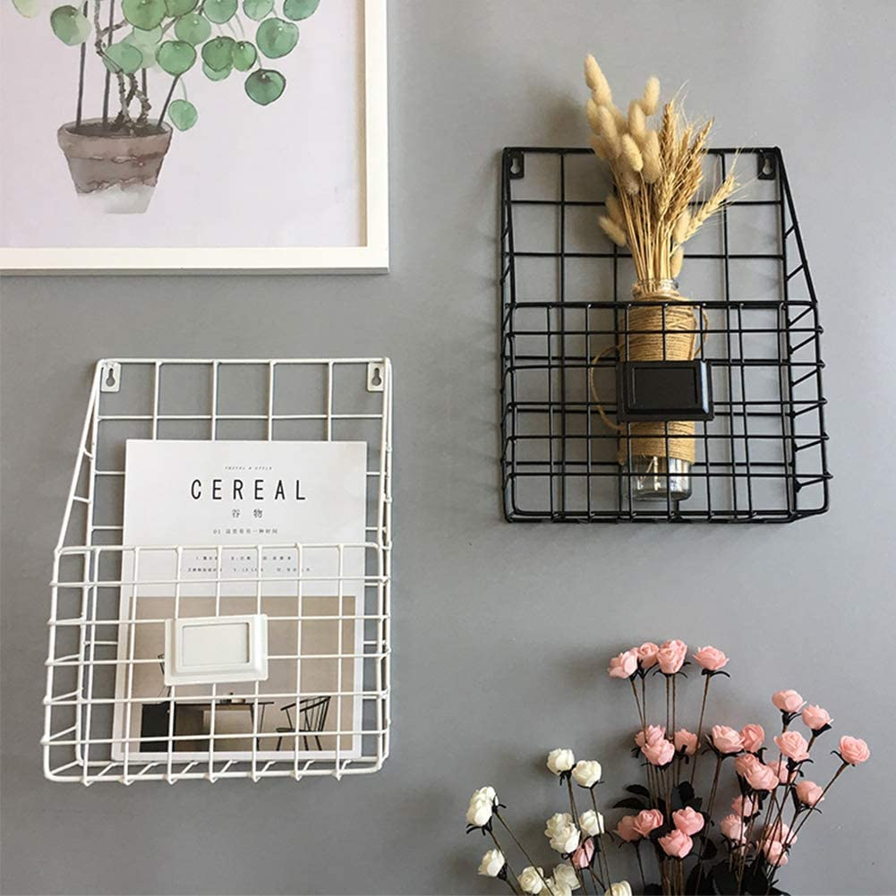 libros peri/ódicos de malla rec/ámara Tama/ño libre sala de estar soporte de pared para oficina Blanco Revistero de pared