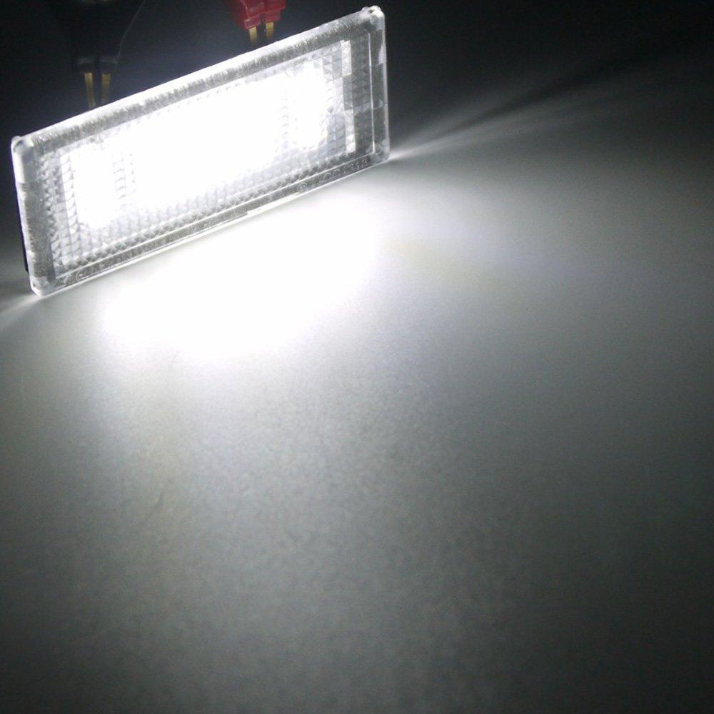 PolarLander 1 Paio di luci Targa a LED 2835 SMD 6000k Bianco 12v Numero di lampadine a Piastra per B-M-W E36 318i 318is 318ti 325i