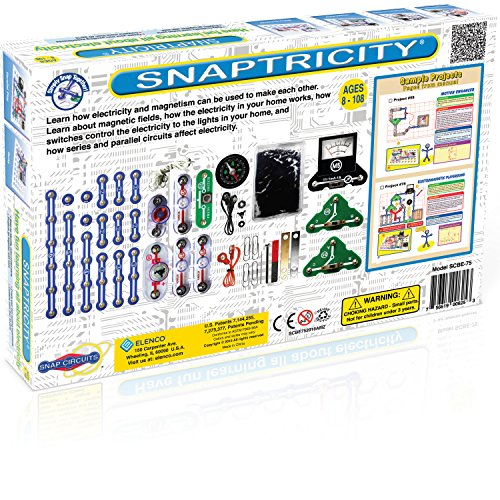 Snap Circuits Snaptricity Electronics Exploration Kit | Over 75 STEM Projects | 4-Color Project Manual | 40 Snap Modules | Unlimited Fun - coolthings.us
