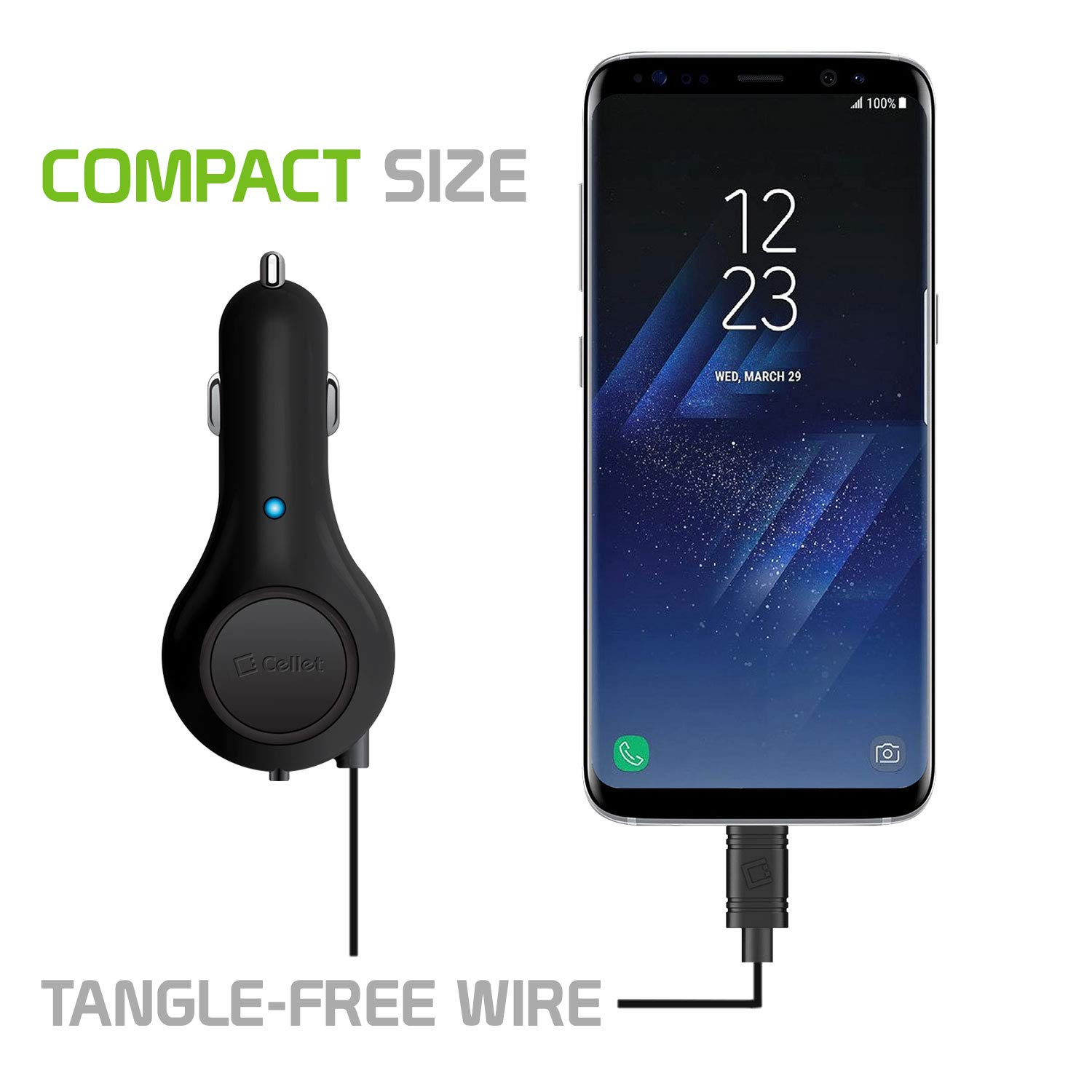 2.1 Amp Micro USB Car Charger Retractable 3 Feet Cable Compatible for ZTE Overture 3//Prelude Cellet 10 Watt ,2//Prestige 2//Quartz//Sonata 2//Paragon//Tempo X,Go//Z667//Zinger//Flame//Whirl 2
