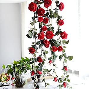 Yunhigh Artificial Silk Red Rose Flower Ivy Vine Fake Hanging Plant Leaves Garland for Wedding Party Garden Wall Valentine Decoration 47