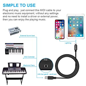 MIDI Cable Adapter, RVOKOMS Premium ix to Type-B Cable Compatible iPhone/iPad/iPod, 3.3ft USB 2.0 Interconnections Converter Midi Keyboard, Electronic Instruments, USB Microphone (Color: Black)