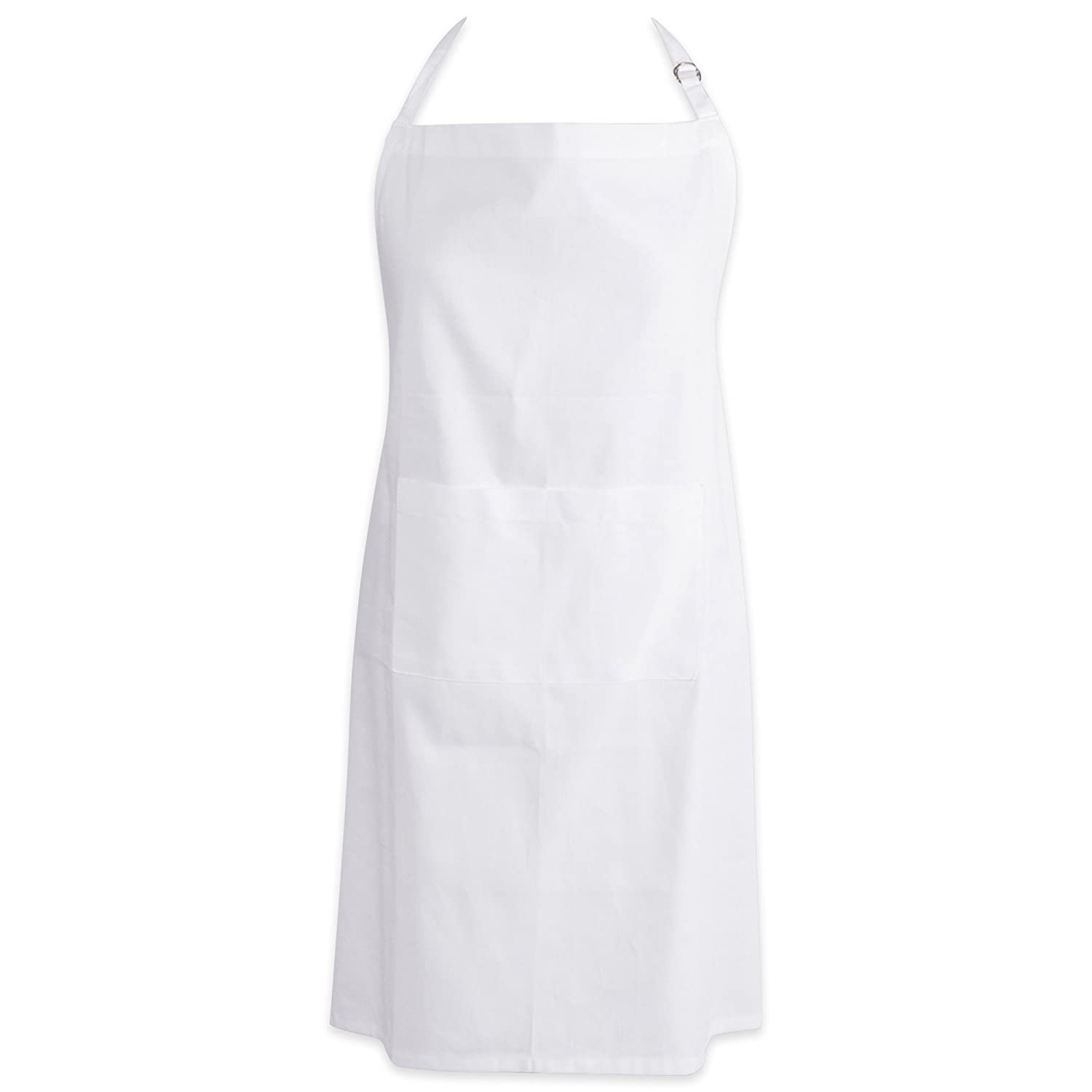 """DII Cotton Adjustable Plus Size Chef Apron with Pockets and Extra Long Ties, 32 x 38"""", Oversized Extra-Large Men & Women Bib Apron for Cooking, Baking, Crafting, Gardening, BBQ-White"""