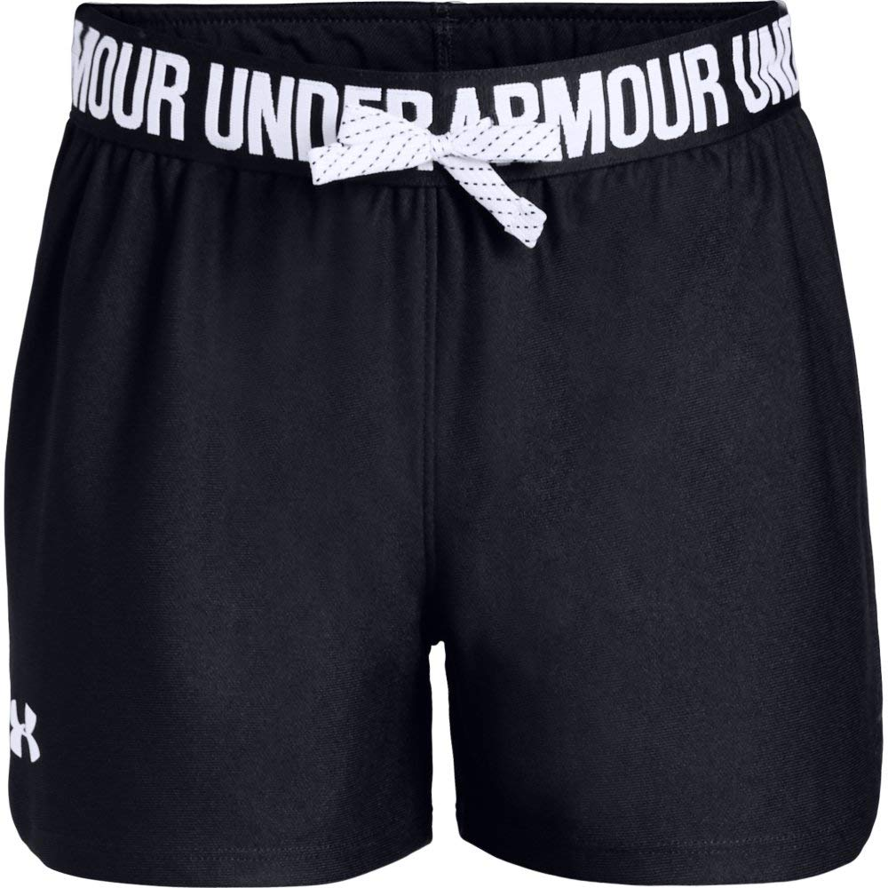 Under Armour Girls' Play Up Shorts, Black /White, Youth X-Small