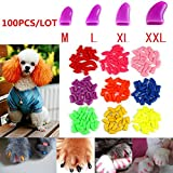 Brostown 100Pcs Soft Pet Dog Nail Caps Claws Control Paws Of 5 Kinds Different Colors + 5Pcs Adhesive Glue + 5pcs Applicator with Instructions (M)