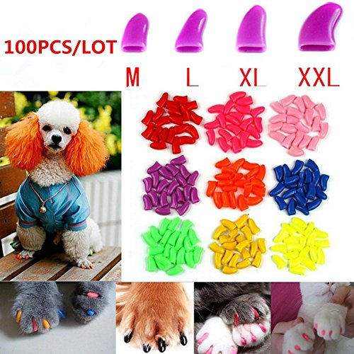 Brostown 100Pcs Soft Pet Dog Nail Caps Claws Control Paws Of 5 Kinds Different Colors + 5Pcs Adhesive Glue + 5pcs Applicator with Instructions (M) ()