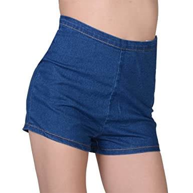 Fashine Women Summer Slim High Waisted Stretchy Mini Comfy Jean ...