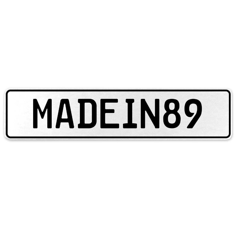 Vintage Parts 555577 MADEIN89 White Stamped Aluminum European License Plate