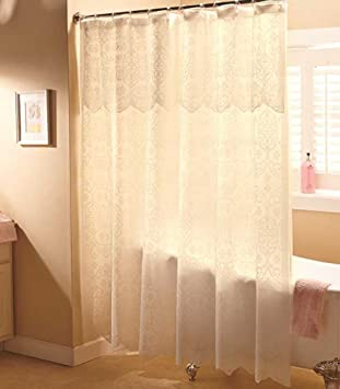 Ivory Lace Shower Curtain W/ Valance U0026 Liner Romantic Fabric