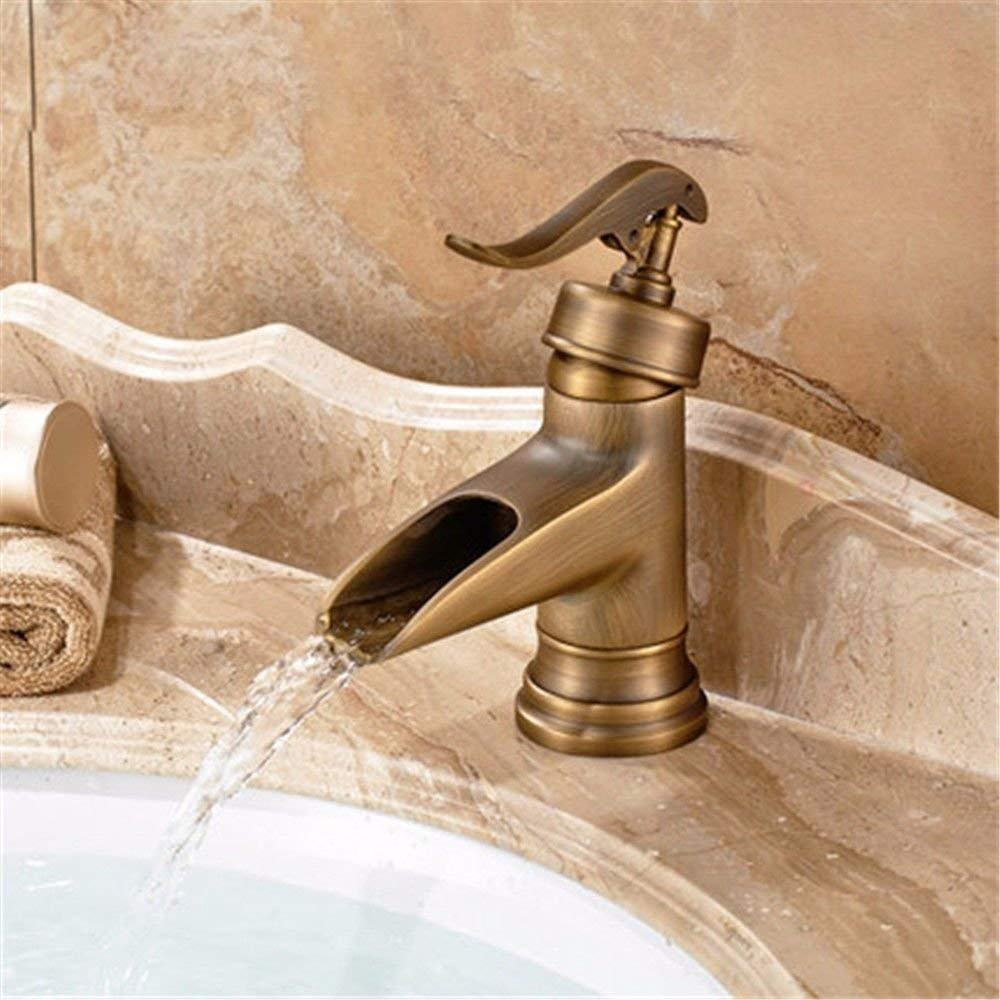 Low) Basin Mixer Tap Bathroom Sink Faucet Retro single handle single hole Washbasin Faucet hand brushed antique faucet bronze basin-wide water faucet hot and cold surface basin taps, low) ( color   Low) )