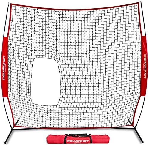 PowerNet 7×7 ft Pitch-Thru Protection Screen for Softball 49 sqft Barrier Perfect for Pitching or Batting Practice Open Area in Net to Allow Ball to Pass Through