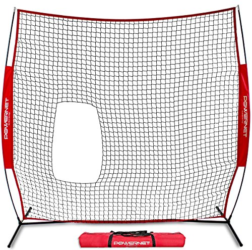 PowerNet 7x7 ft Pitch-Thru Protection Screen for Softball | 49 sqft Barrier | Perfect for Pitching or Batting Practice | Open Area in Net to Allow Ball to Pass -