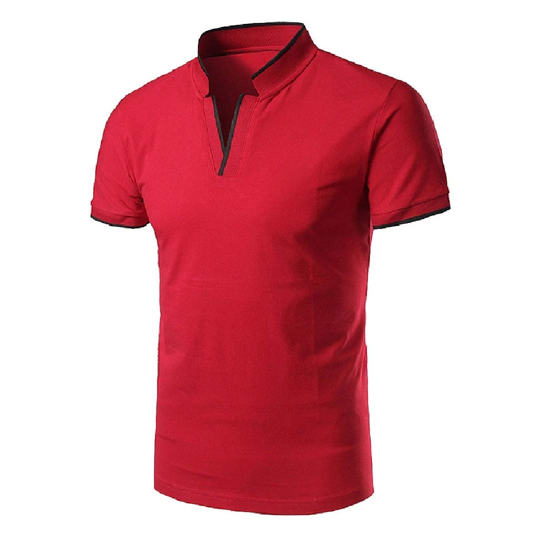 HEFASDM Mens Stand Collar Polo Skinny Solid Short Sleeve Blouse T-Shirt Tops