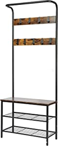 CHADIOR, Shoe Bench, Industrial Hall Tree, Entryway Storage Shelf Stand with Hooks, Wood Look Accent Furniture with Metal Frame Easy Assembly Coat Racks, Neutral