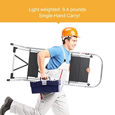 Delxo Upgrade Lightweight Aluminum 3 Step Ladder Step Stool Single-Hand Carry Ladder with Handgrip Anti-Slip Sturdy and Wide Pedal Multi-Use for Household and Office Portable Step Stool 330lbs 3-Feet