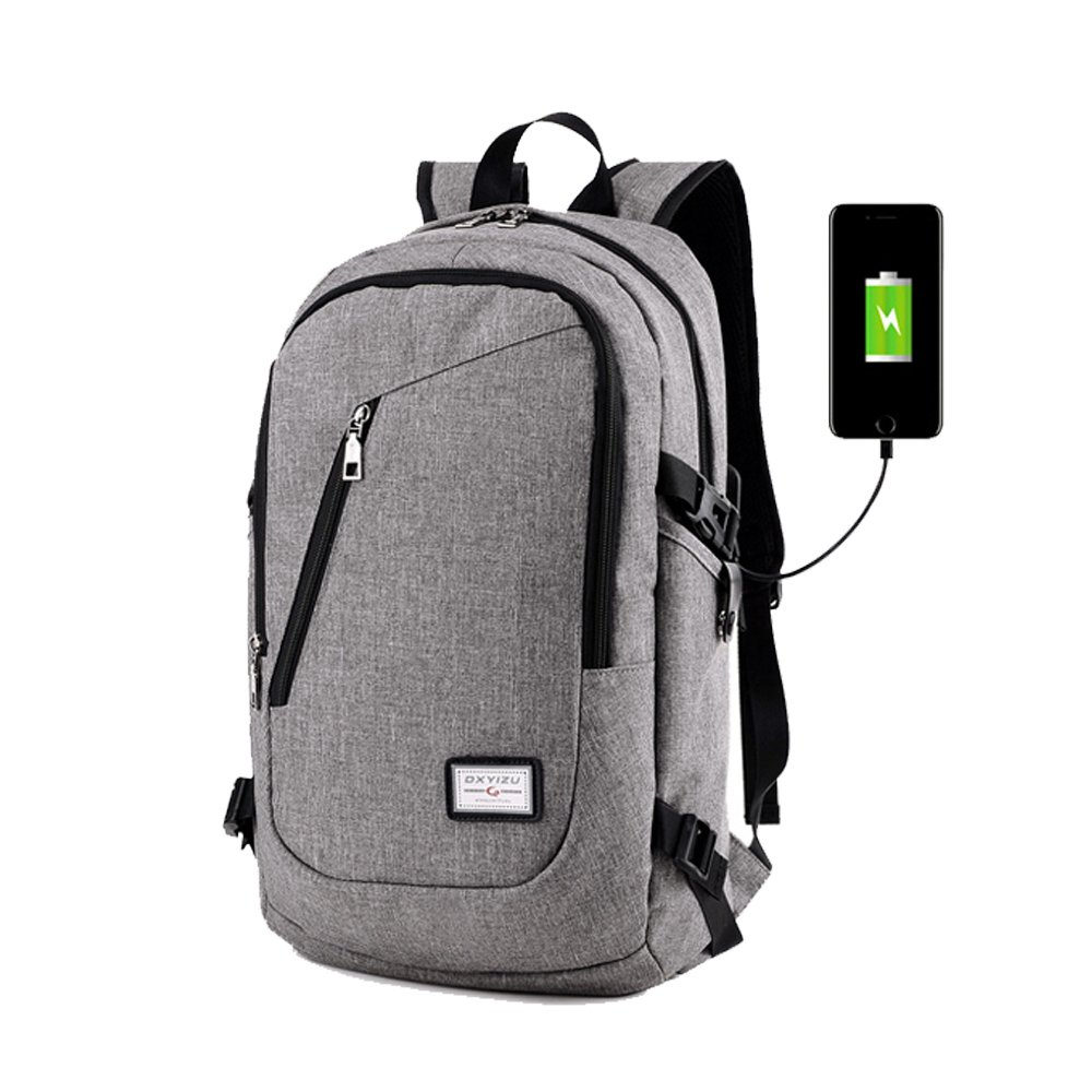 Business Sports 2 in 1 Laptop Backpack 17 with USB Charging Port and Hidden Mesh Pocket (Grey02)