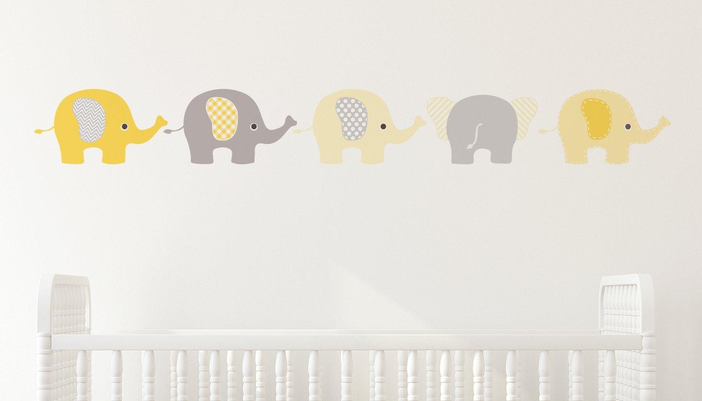 Nutmeg Wall Stickers Elephants Wall Sticker Yellow 14 X 120 Cm