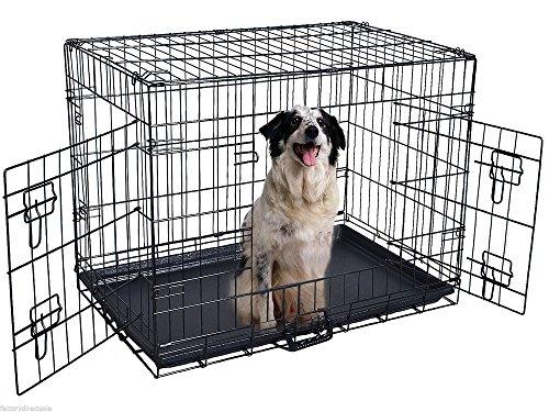 48   Folding Cage Pet 2 Door Wire Metal Dog Crete Suitcase Kennel Playpen