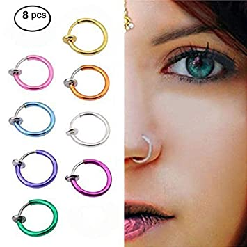 b5995eec514 Image Unavailable. Image not available for. Color: Teanfa 8pcs Punk Clip on Fake  Nose Assorted Body Jewelry ...