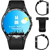 Kingwear 3G Smart Watch, Android 5.1 OS, Quad Core 2.0MP Camera Bluetooth Nano SIM Card Soket WiFi GPS Heart Rate Monitor (Black+Silver)