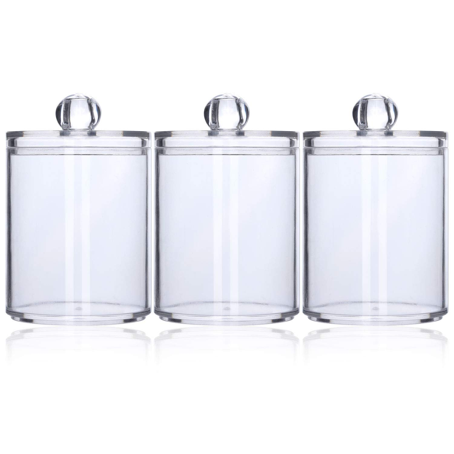 3 Plastic Cotton Swab Ball Pad Holder, Qtip Jar Clear Makeup Organizer, Bathroom Containers Individual Dispenser