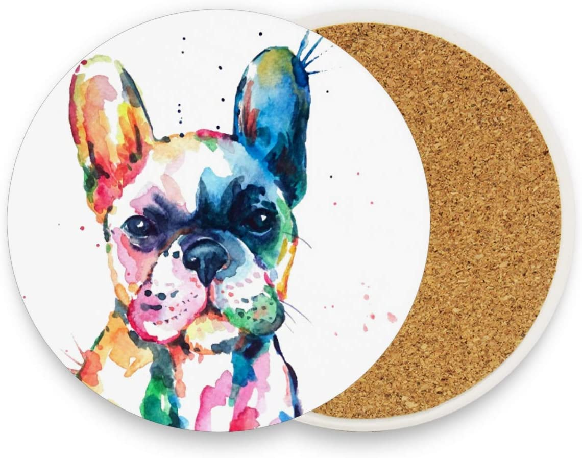 French Bulldog Coasters for Drinks 4 Pieces Set Dog Puppy Animal Bar Cup Coaster Coffee Mug Glass Pad Tabletop Protection Mat for Table Kitchen Dining Home Decor