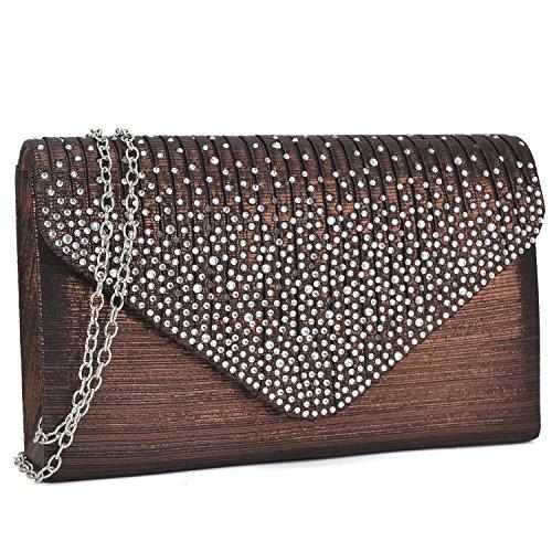 d Satin Evening Clutch Purse Bag Crossbody Handbags Party Prom Wedding Envelope (Coffee) ()