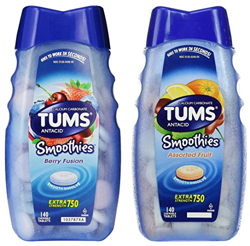 Tums Smoothies Berry Fusion / Assorted Fruit Combo 140 Count (2-pack) | 280 Chewable Tablets in Total Assorted Berries
