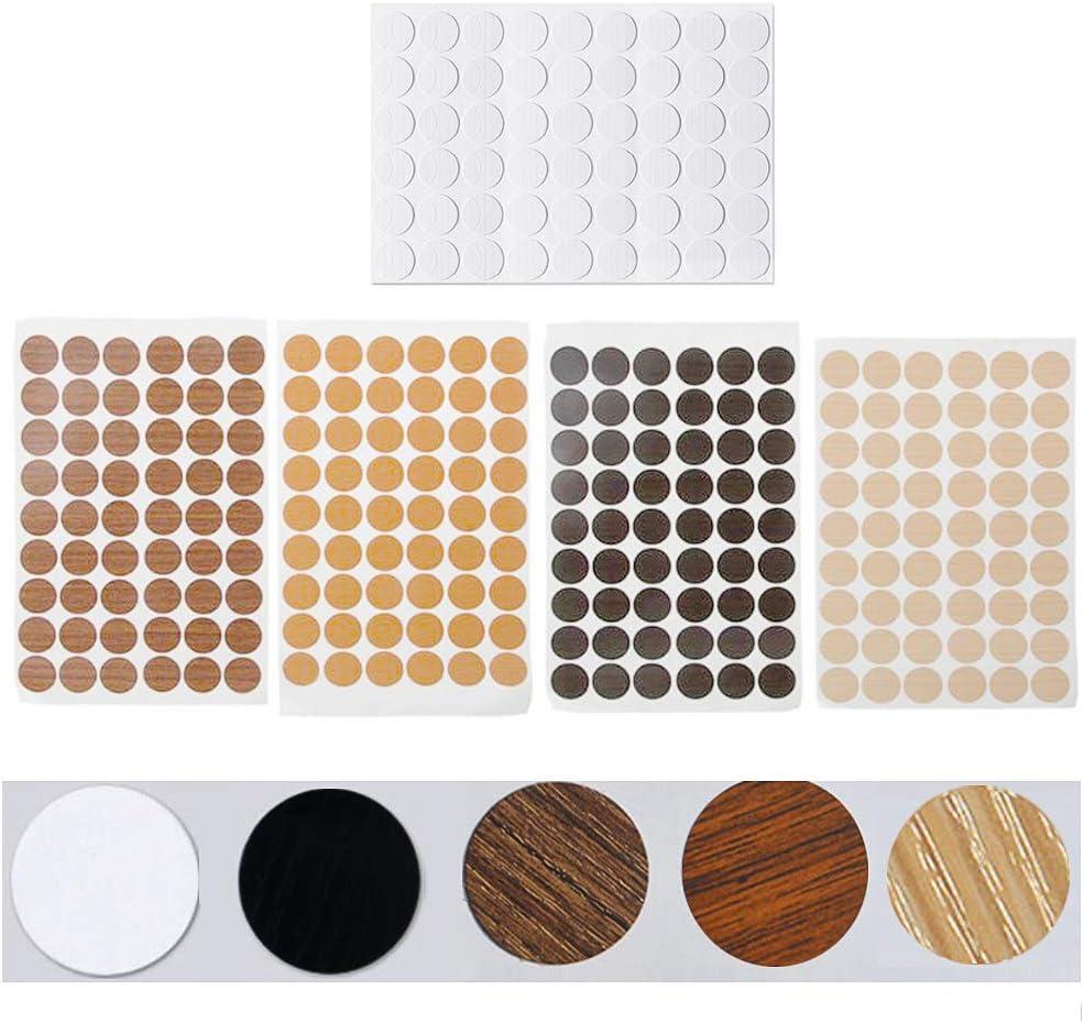 Rojo y Mil/án Roble Marr/ón Xkfgcm 5 Piezas de Fundas Autoadhesivas para Muebles Tapas Autoadhesivas para Tornillos Autoadhesivas de Polvo Pegatinas Circulares Una para Cada Color de Blanco Negro